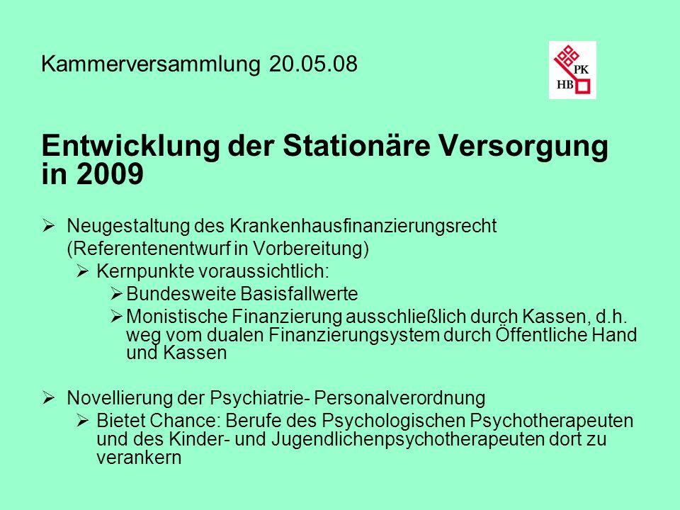 Entwicklung der Stationäre Versorgung in 2009