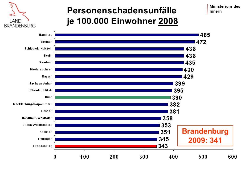 Personenschadensunfälle je 100.000 Einwohner 2008