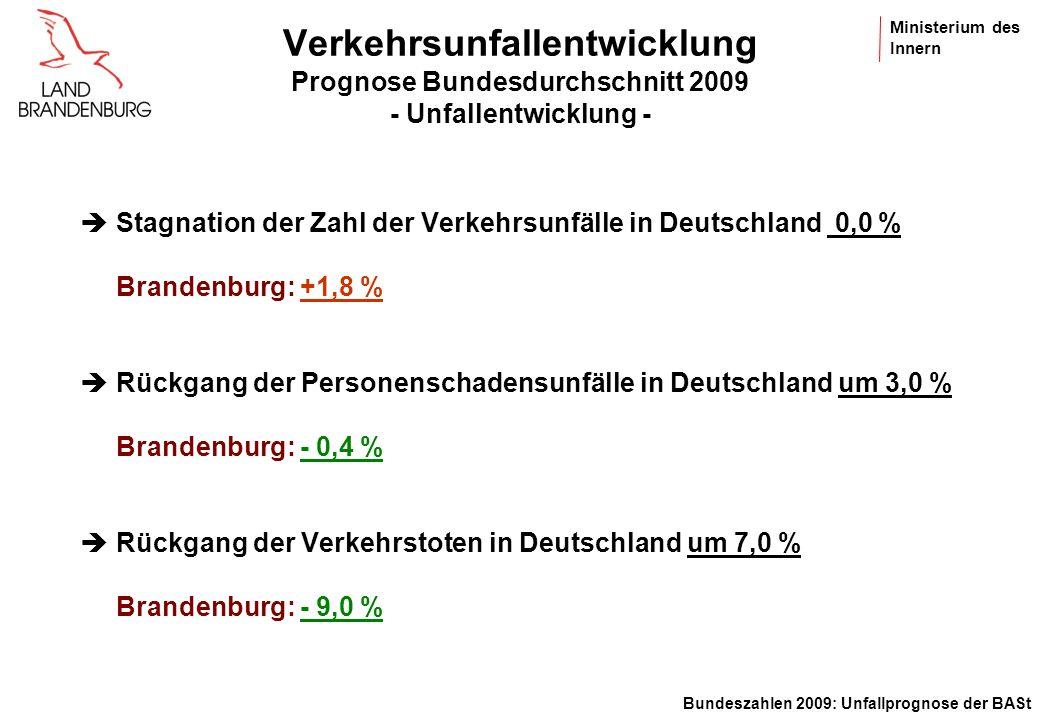 Verkehrsunfallentwicklung Prognose Bundesdurchschnitt 2009 - Unfallentwicklung -