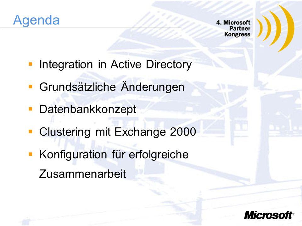 Agenda Integration in Active Directory Grundsätzliche Änderungen