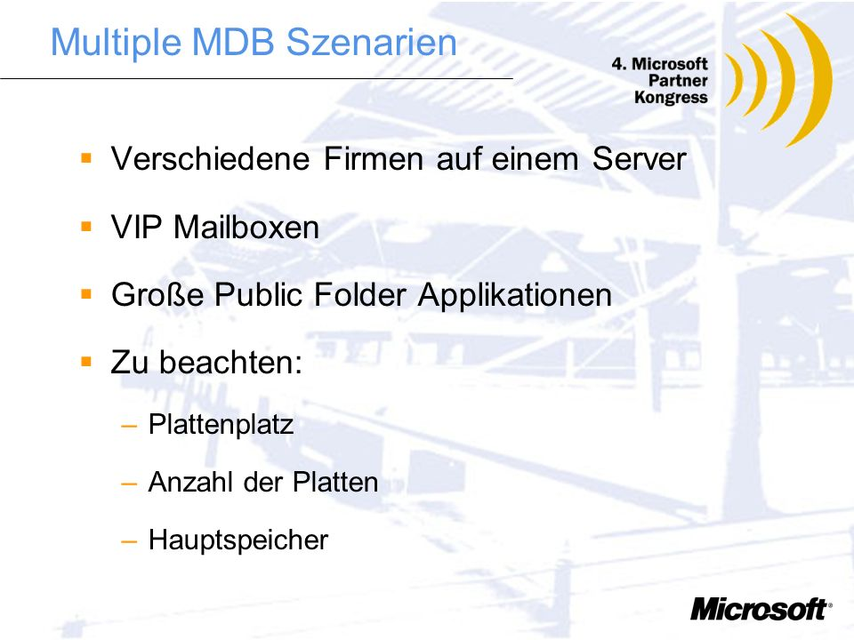 Multiple MDB Szenarien