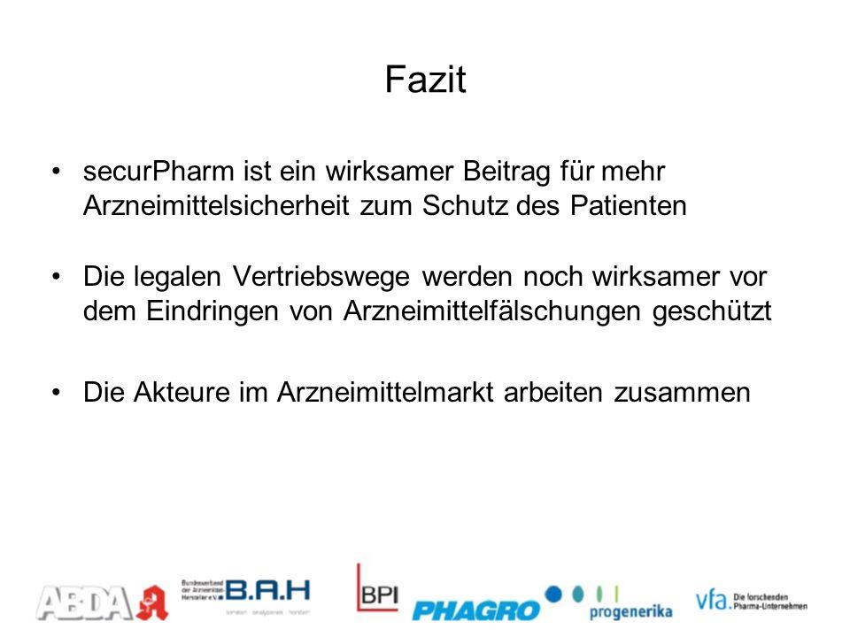 Fazit securPharm ist ein wirksamer Beitrag für mehr Arzneimittelsicherheit zum Schutz des Patienten.