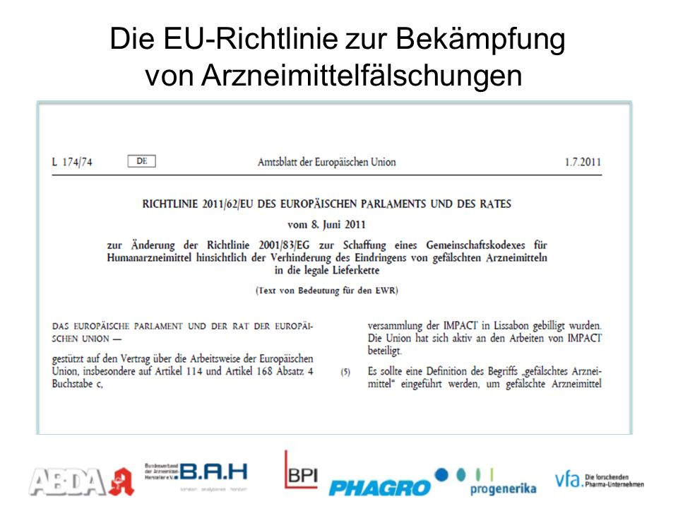 Die EU-Richtlinie zur Bekämpfung von Arzneimittelfälschungen