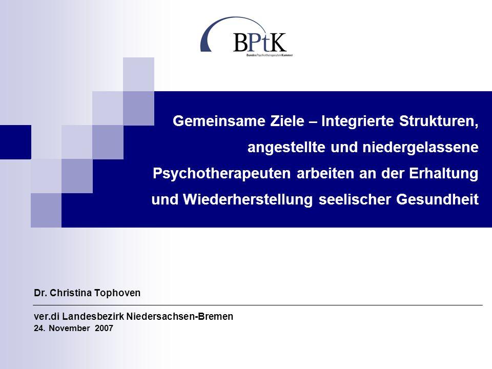 Gemeinsame Ziele – Integrierte Strukturen, angestellte und niedergelassene Psychotherapeuten arbeiten an der Erhaltung und Wiederherstellung seelischer Gesundheit