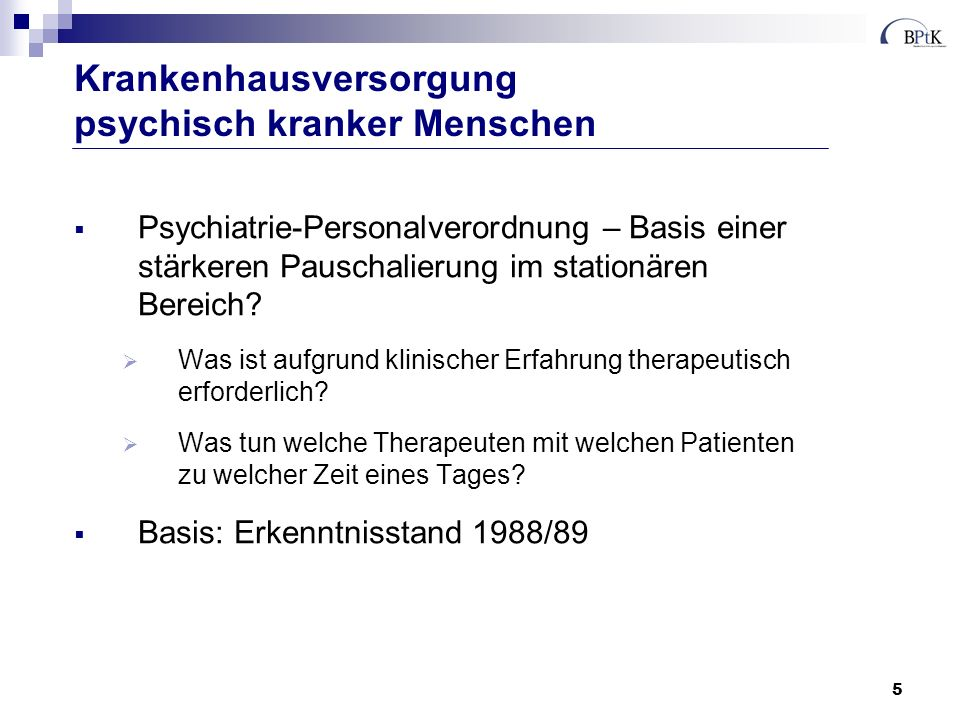 Krankenhausversorgung psychisch kranker Menschen