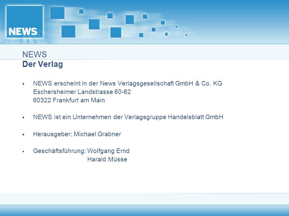 NEWS Der Verlag NEWS erscheint in der News Verlagsgesellschaft GmbH & Co. KG. Eschersheimer Landstrasse 60-62.