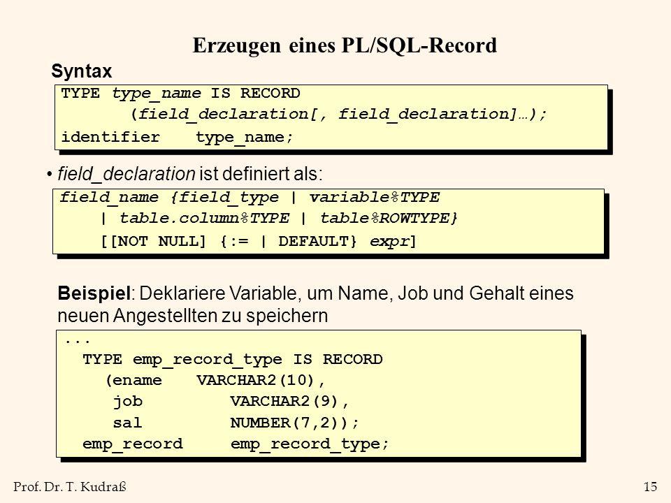 Erzeugen eines PL/SQL-Record