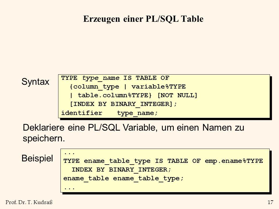 Erzeugen einer PL/SQL Table