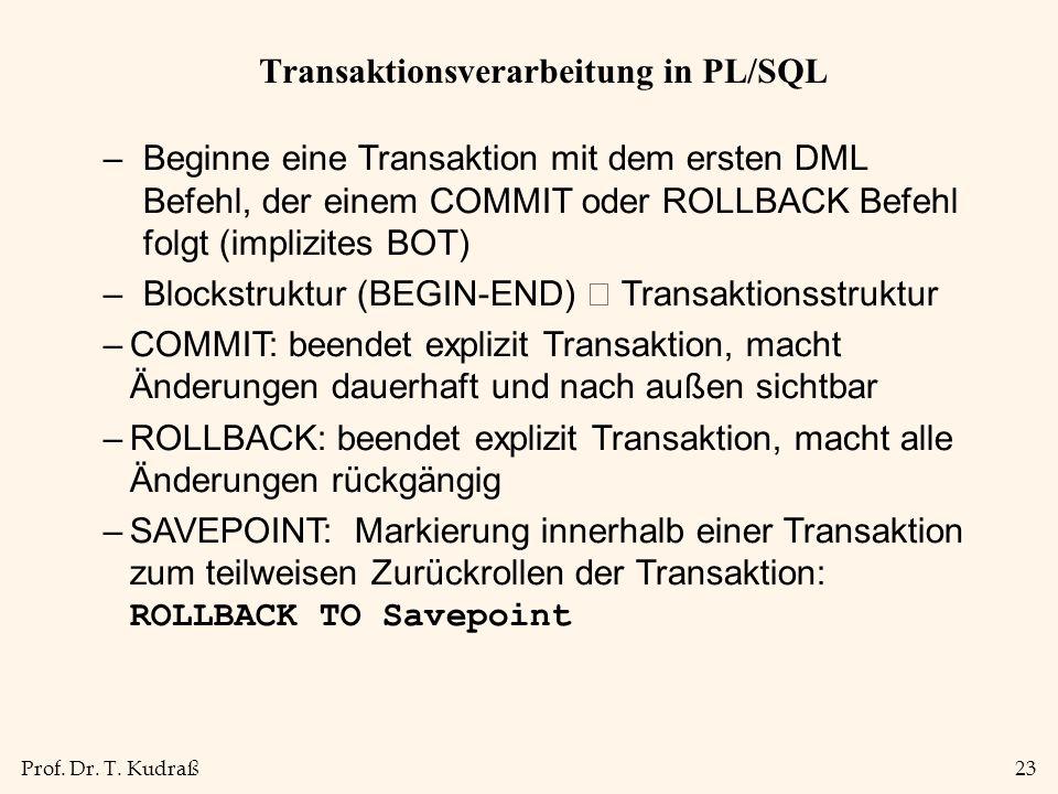 Transaktionsverarbeitung in PL/SQL
