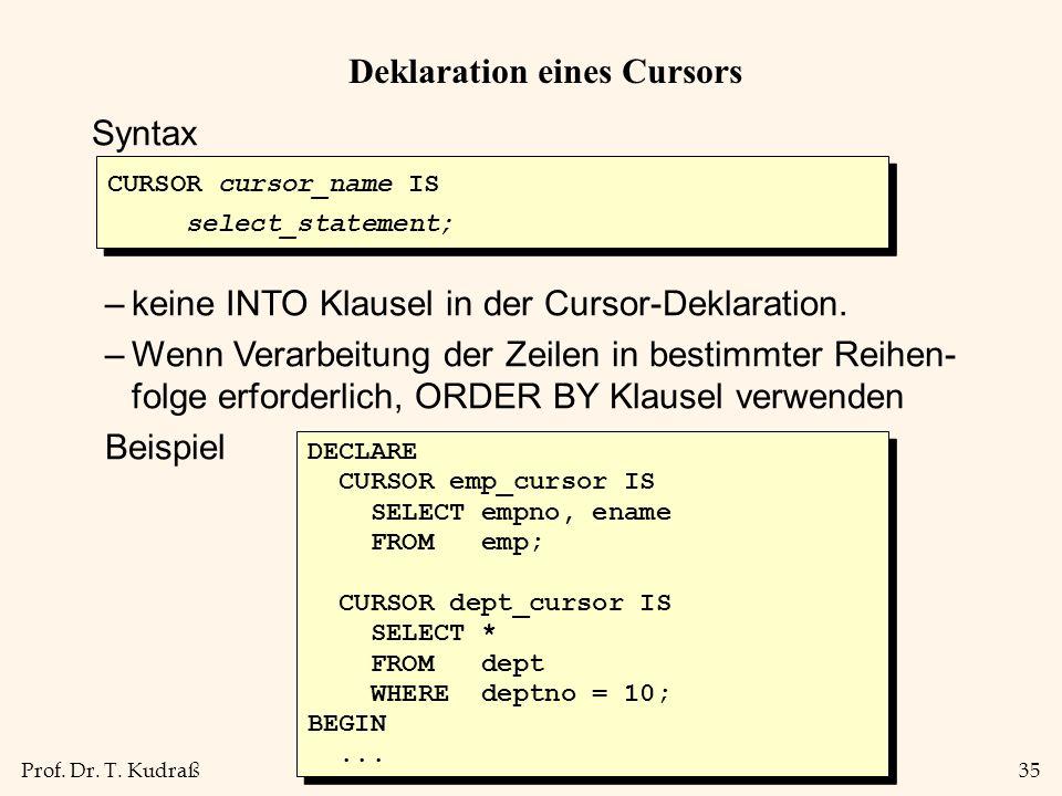 Deklaration eines Cursors