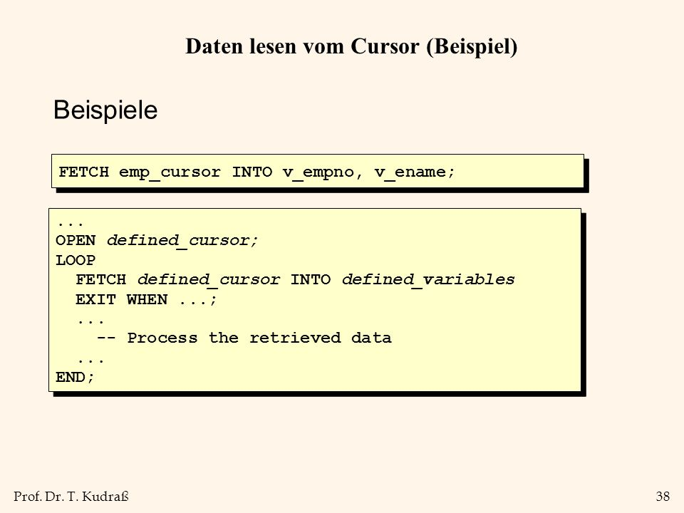 Daten lesen vom Cursor (Beispiel)