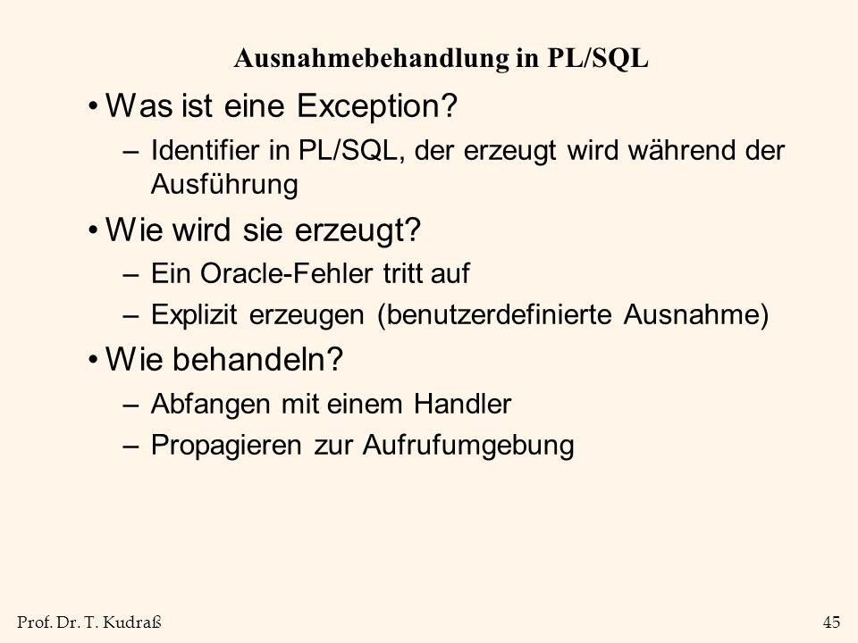 Ausnahmebehandlung in PL/SQL