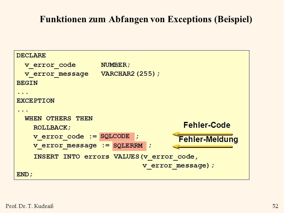 Funktionen zum Abfangen von Exceptions (Beispiel)