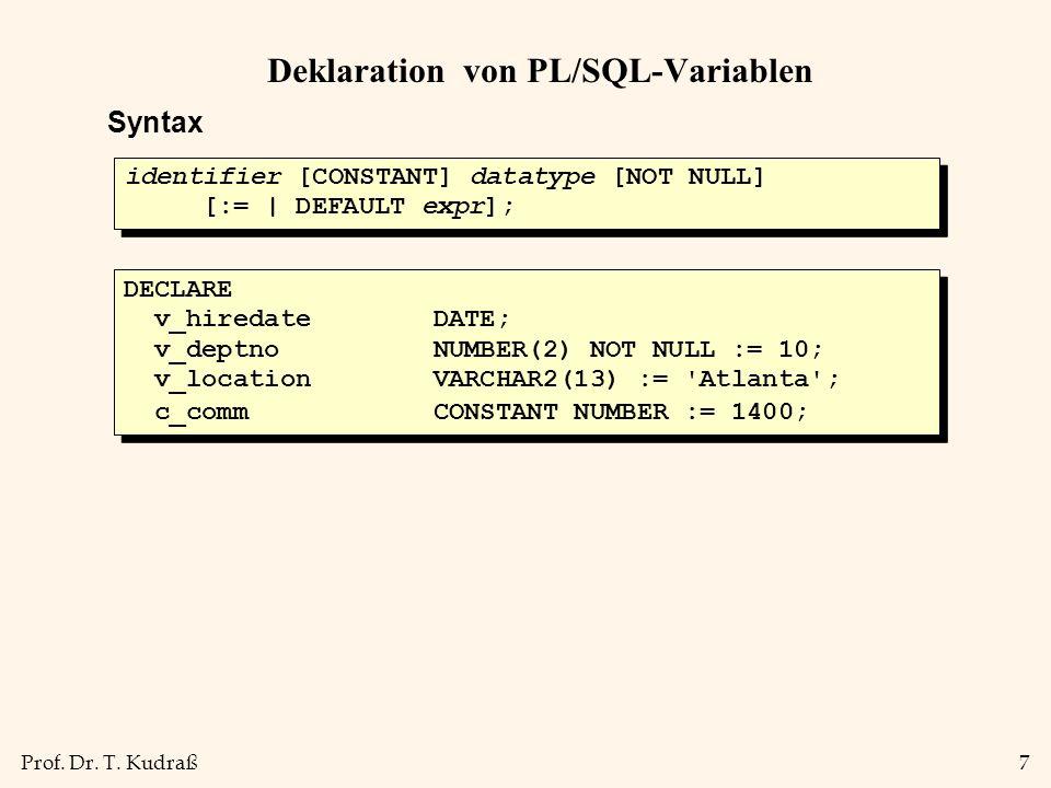 Deklaration von PL/SQL-Variablen