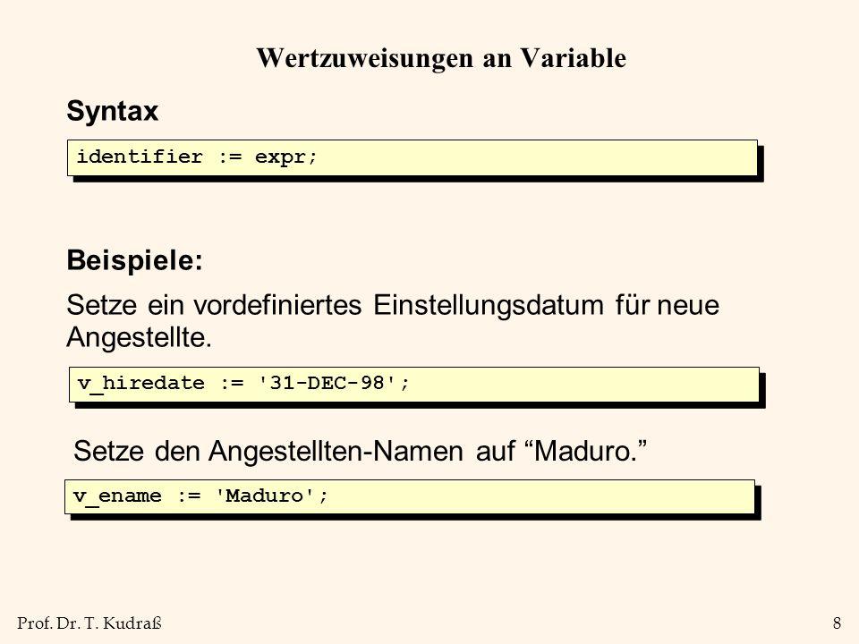 Wertzuweisungen an Variable