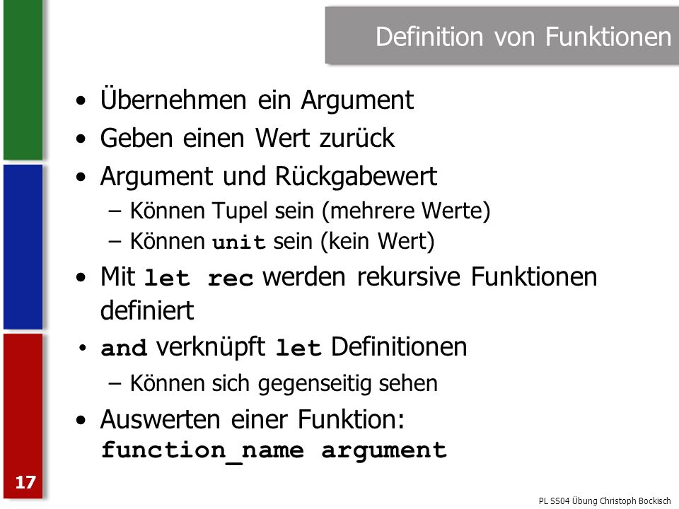 Definition von Funktionen