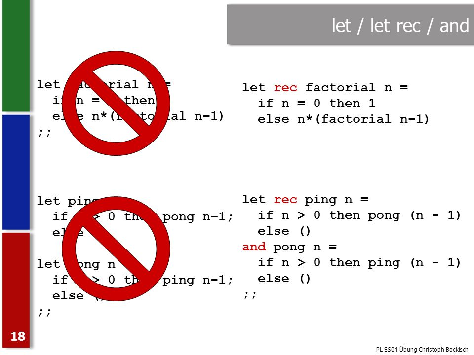 let / let rec / and let factorial n = let rec factorial n =