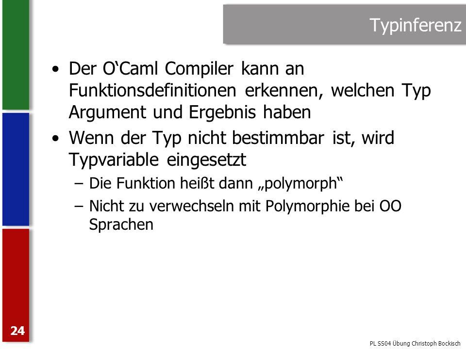 Wenn der Typ nicht bestimmbar ist, wird Typvariable eingesetzt
