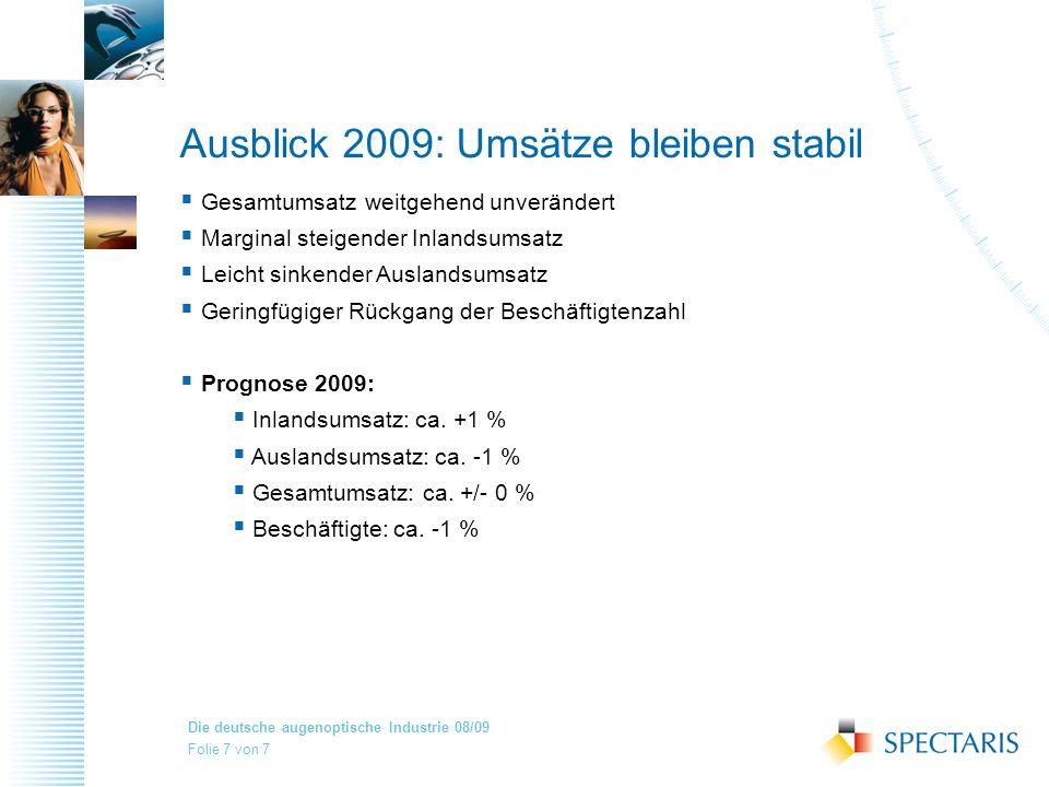 Ausblick 2009: Umsätze bleiben stabil
