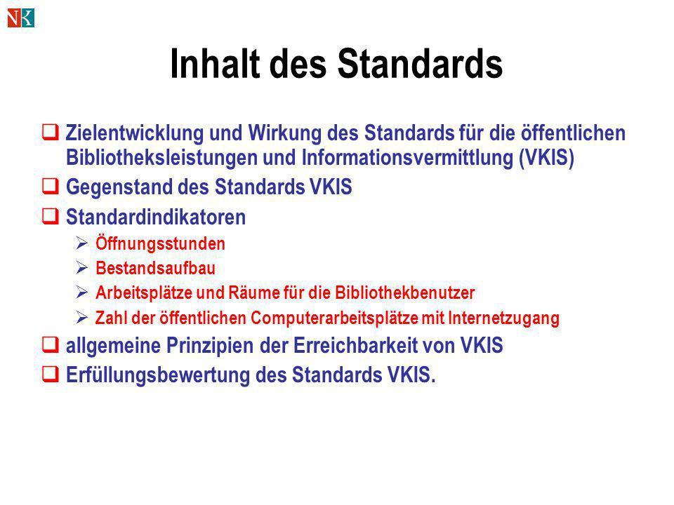 Inhalt des Standards Zielentwicklung und Wirkung des Standards für die öffentlichen Bibliotheksleistungen und Informationsvermittlung (VKIS)
