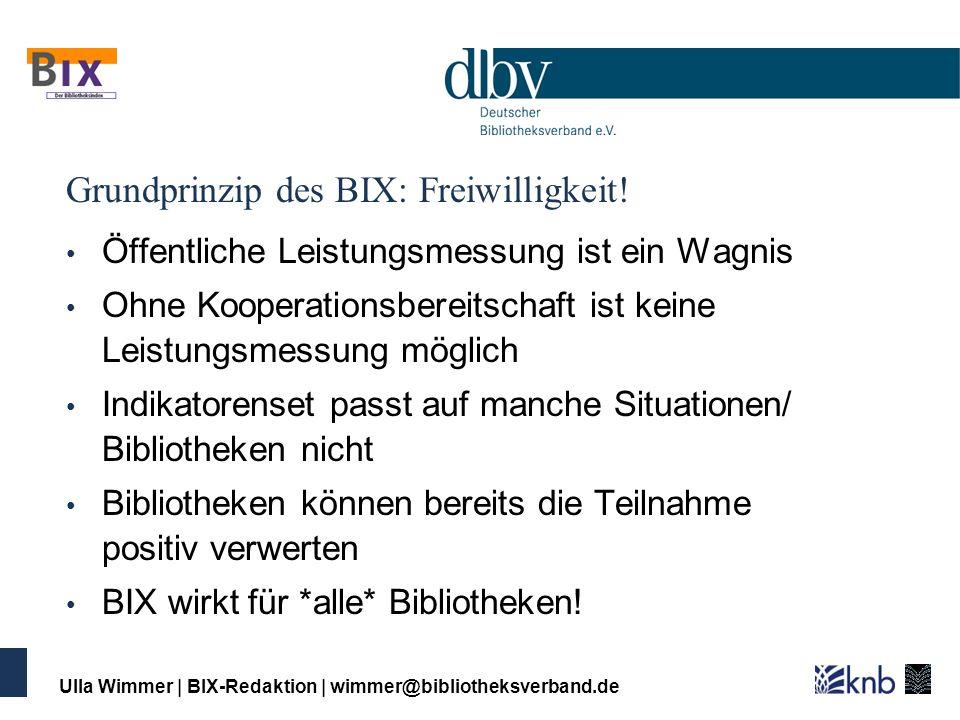Grundprinzip des BIX: Freiwilligkeit!