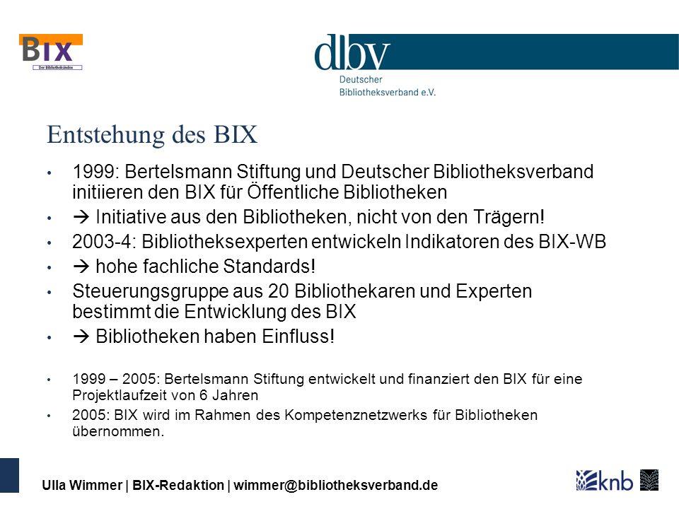 Entstehung des BIX 1999: Bertelsmann Stiftung und Deutscher Bibliotheksverband initiieren den BIX für Öffentliche Bibliotheken.