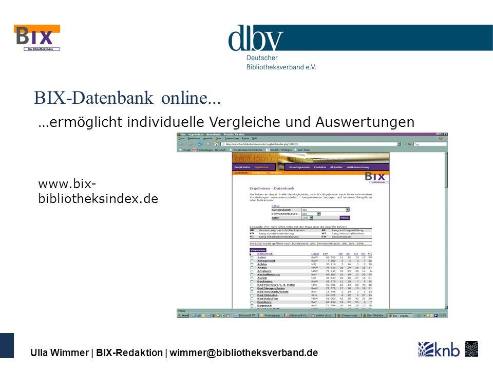 BIX-Datenbank online...…ermöglicht individuelle Vergleiche und Auswertungen. www.bix-bibliotheksindex.de.