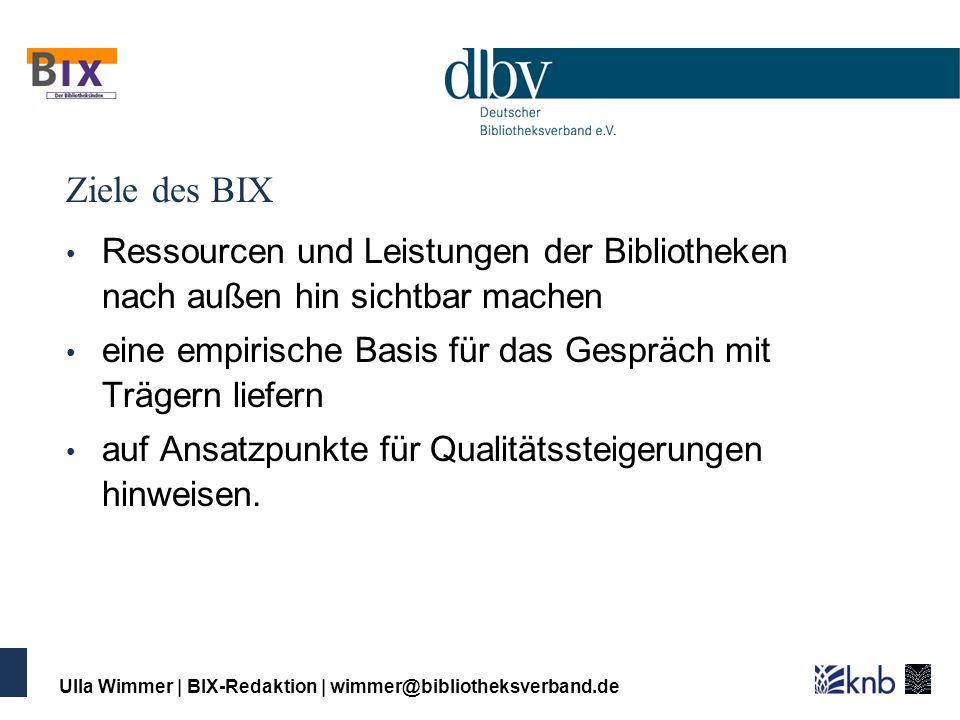 Ziele des BIX Ressourcen und Leistungen der Bibliotheken nach außen hin sichtbar machen. eine empirische Basis für das Gespräch mit Trägern liefern.