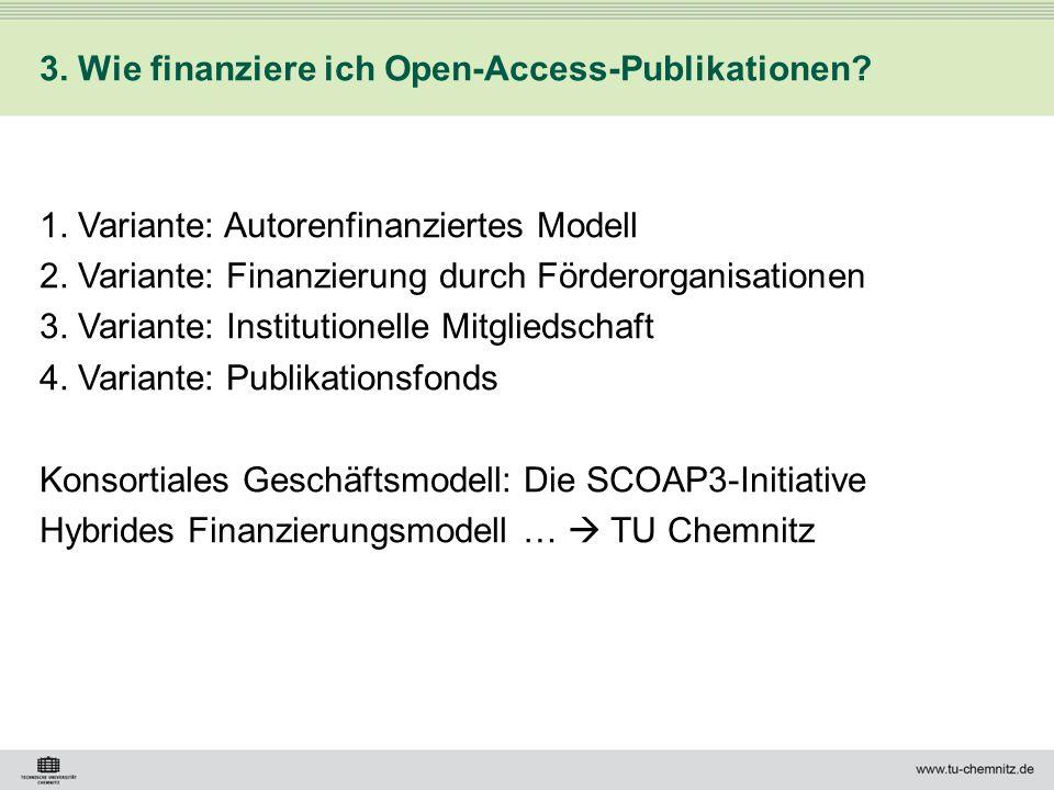3. Wie finanziere ich Open-Access-Publikationen