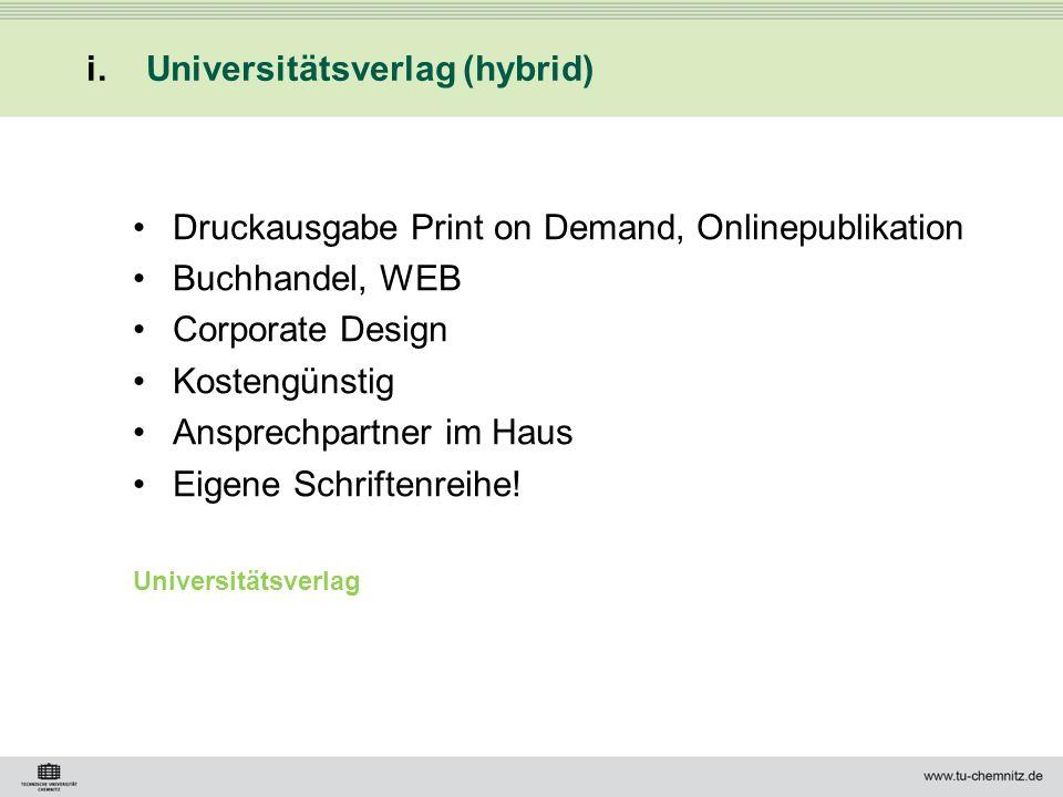 Universitätsverlag (hybrid)