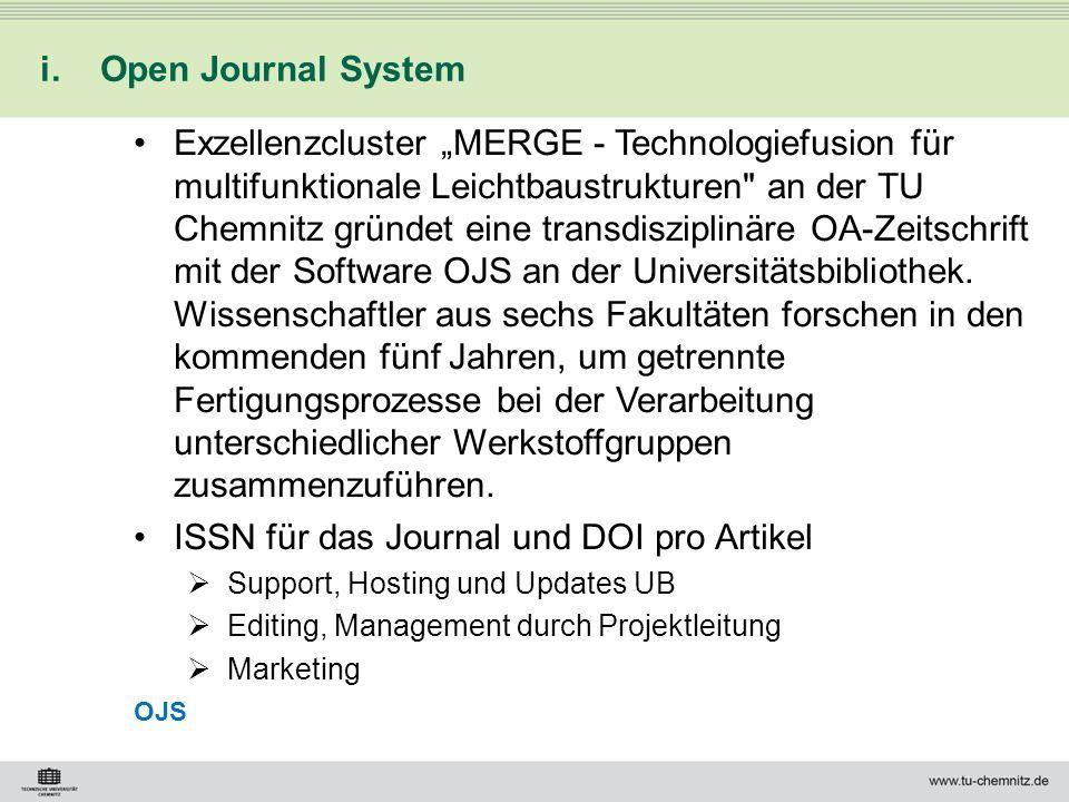ISSN für das Journal und DOI pro Artikel