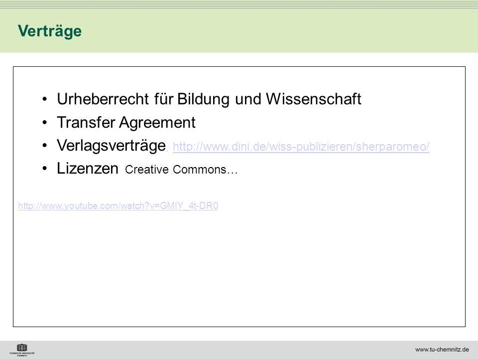 Urheberrecht für Bildung und Wissenschaft Transfer Agreement