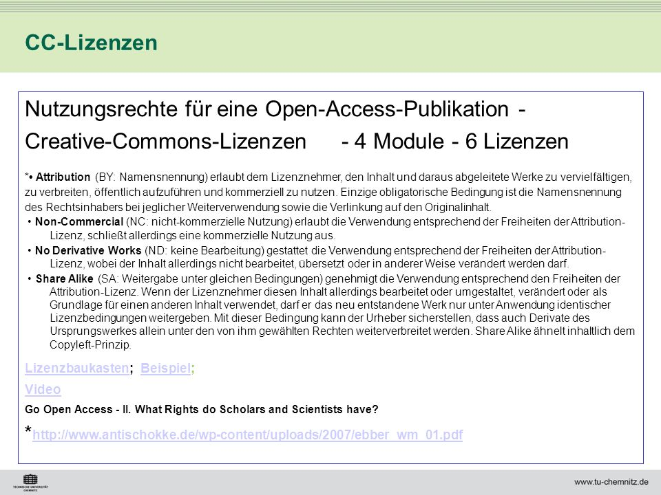 Nutzungsrechte für eine Open-Access-Publikation -