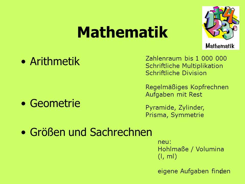 Mathematik Arithmetik Geometrie Größen und Sachrechnen