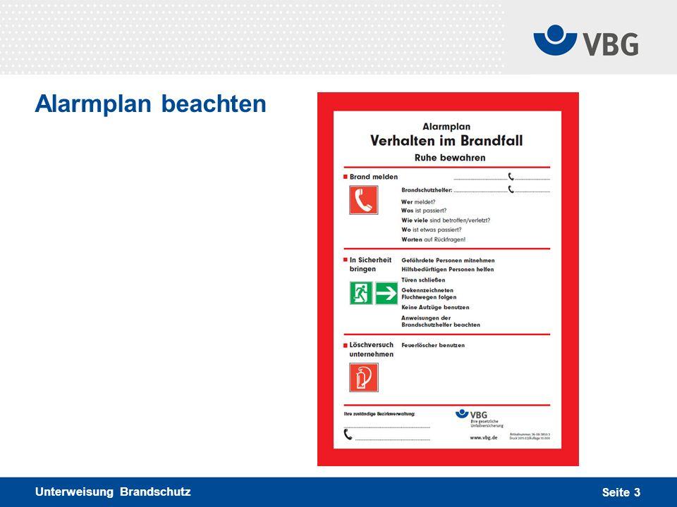 Alarmplan beachten Unterweisung Brandschutz