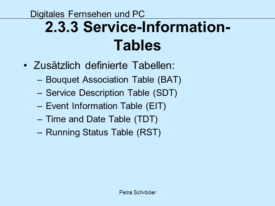 2.3.3 Service-Information-Tables