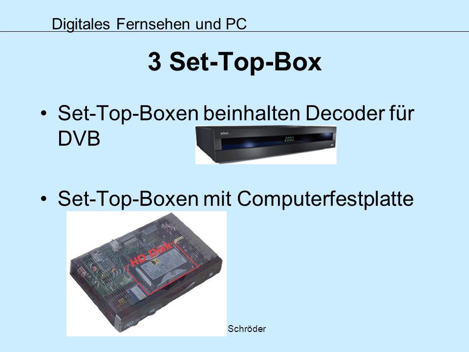 3 Set-Top-Box Set-Top-Boxen beinhalten Decoder für DVB