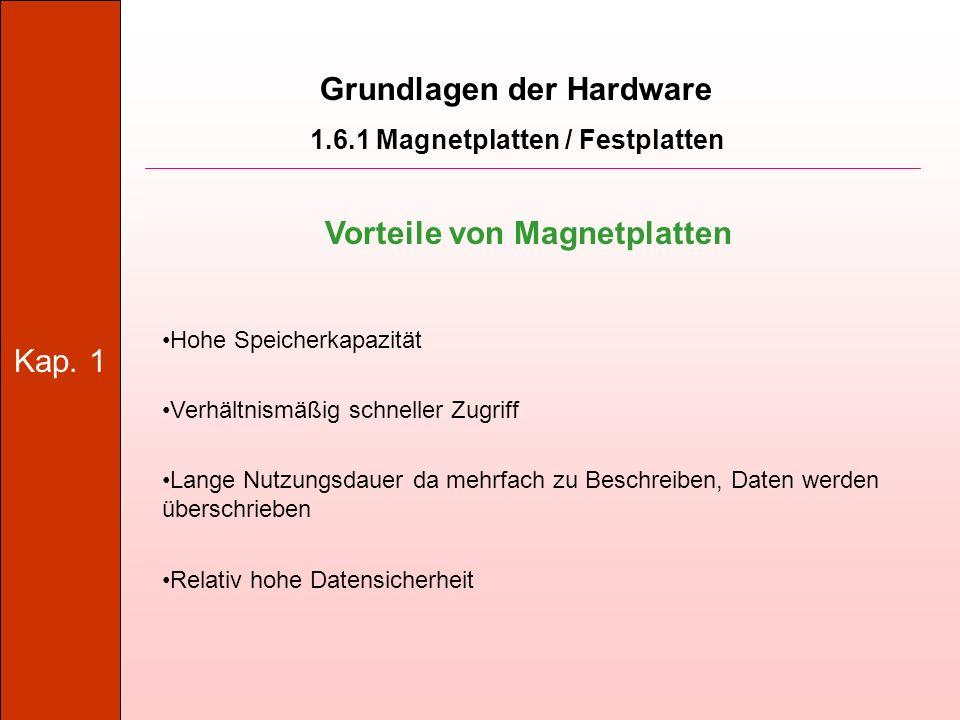 Grundlagen der Hardware Vorteile von Magnetplatten