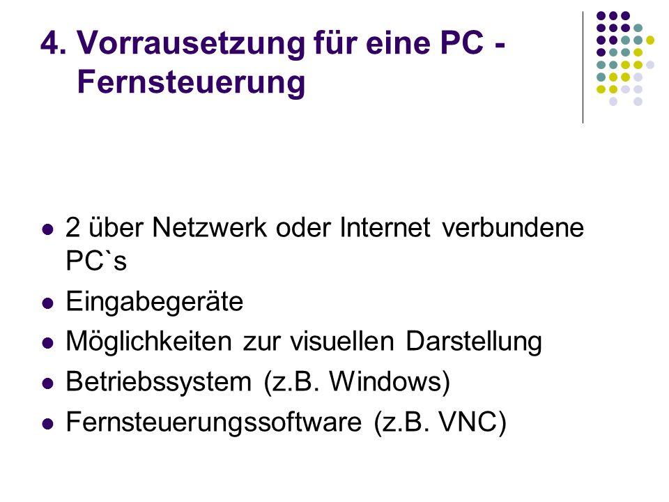 4. Vorrausetzung für eine PC - Fernsteuerung