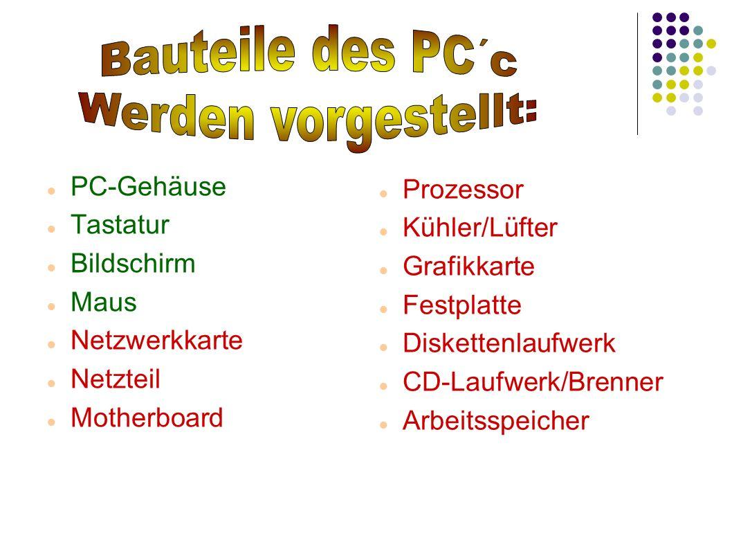 Bauteile des PC´c Werden vorgestellt: PC-Gehäuse Prozessor Tastatur