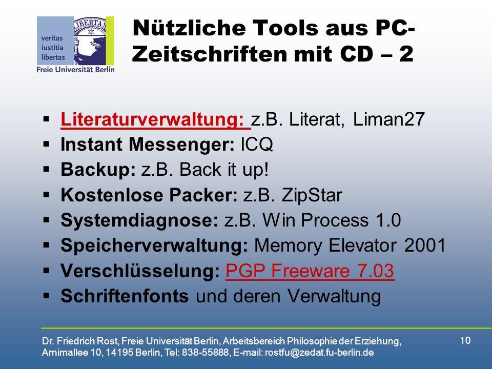 Nützliche Tools aus PC-Zeitschriften mit CD – 2