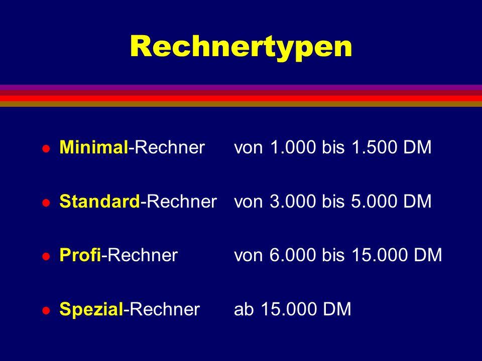 Rechnertypen Minimal-Rechner von 1.000 bis 1.500 DM