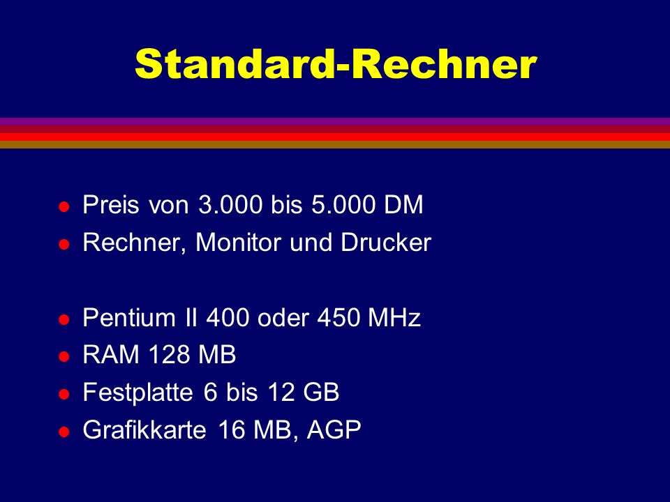 Standard-Rechner Preis von 3.000 bis 5.000 DM