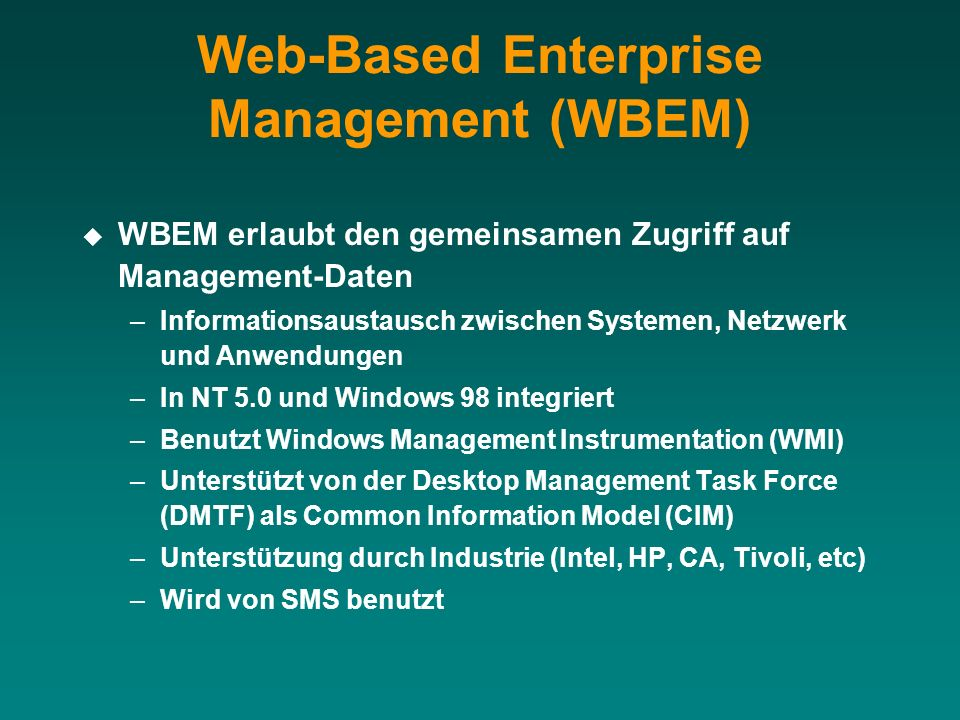 Web-Based Enterprise Management (WBEM)