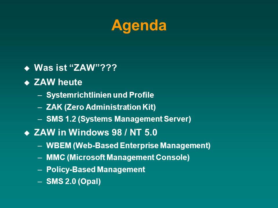 Agenda Was ist ZAW ZAW heute ZAW in Windows 98 / NT 5.0