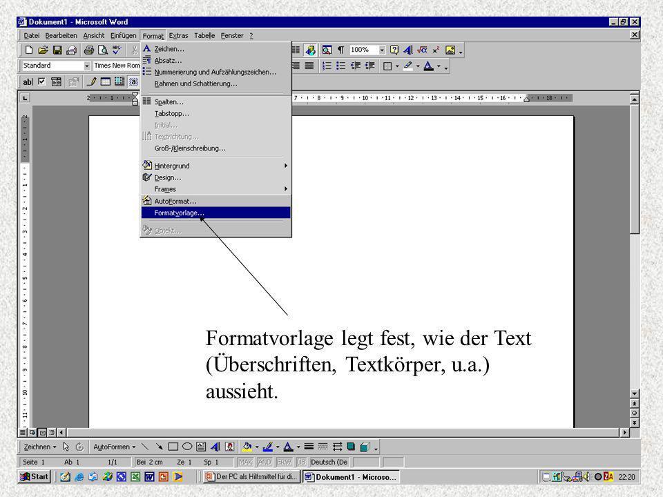 Formatvorlage legt fest, wie der Text (Überschriften, Textkörper, u. a