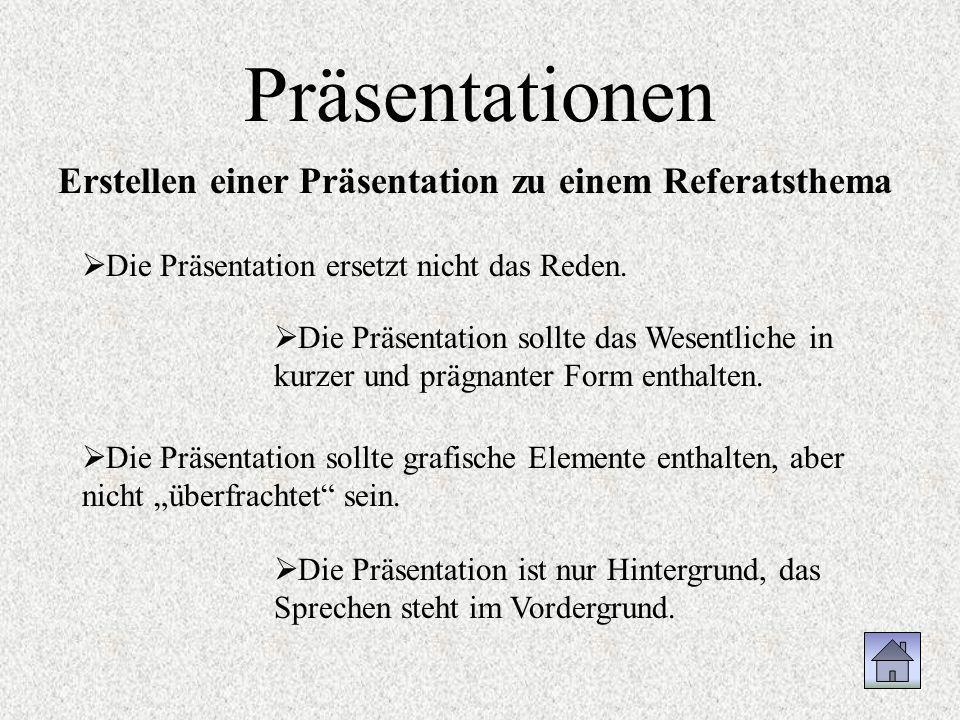 Präsentationen Erstellen einer Präsentation zu einem Referatsthema