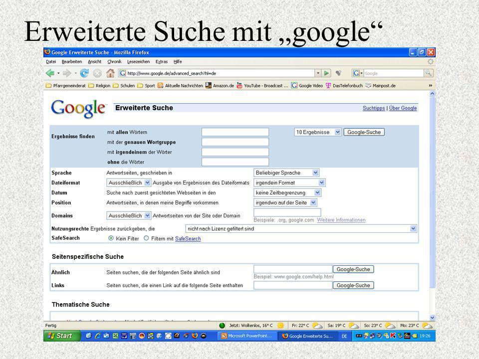 """Erweiterte Suche mit """"google"""