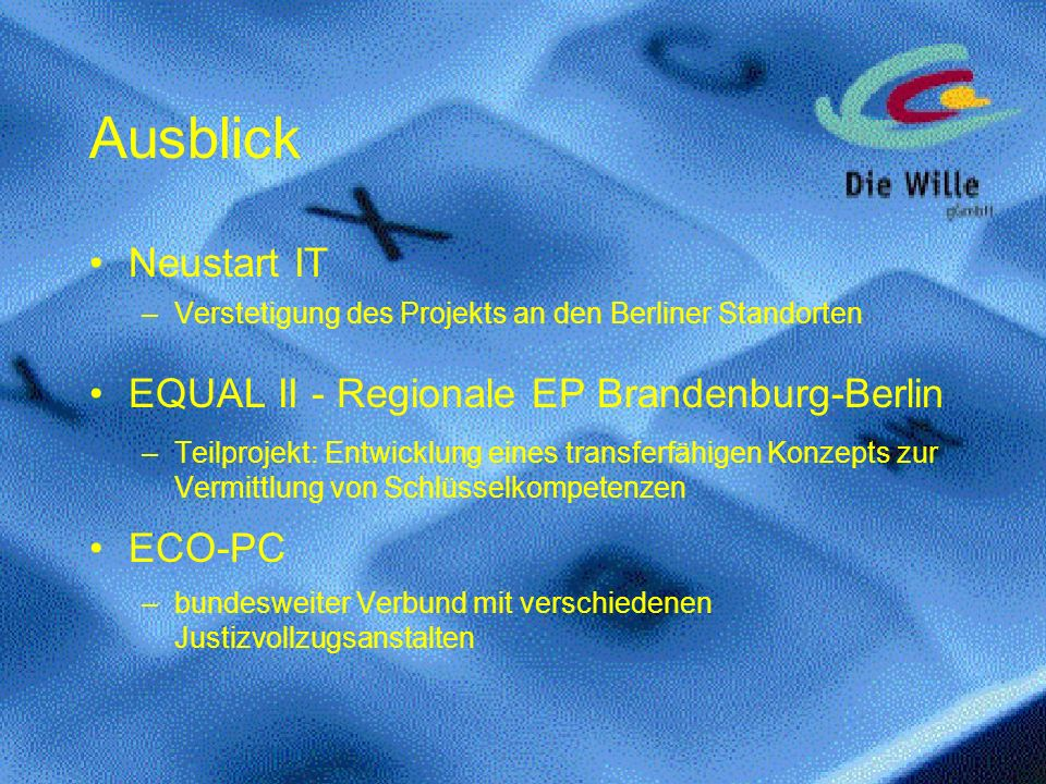 Ausblick Neustart IT EQUAL II - Regionale EP Brandenburg-Berlin ECO-PC