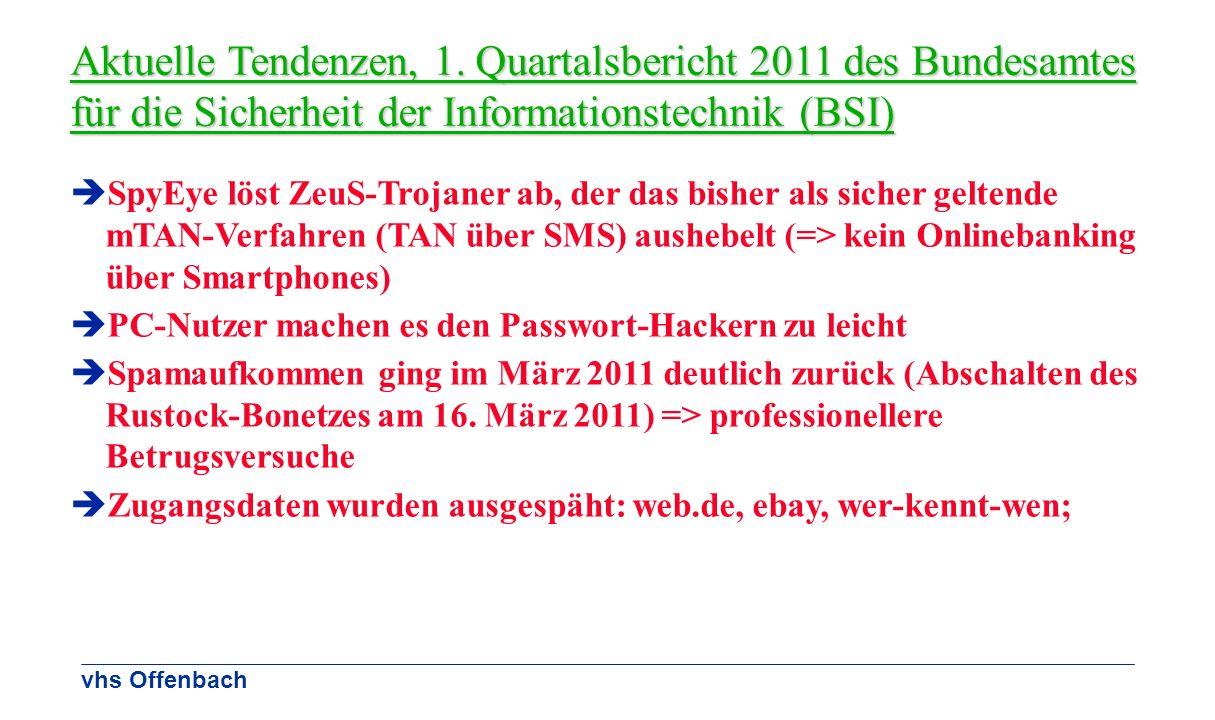 Aktuelle Tendenzen, 1. Quartalsbericht 2011 des Bundesamtes für die Sicherheit der Informationstechnik (BSI)